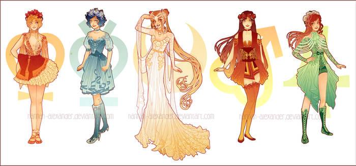 Sailor Moon: Art Nouveau Costume Designs