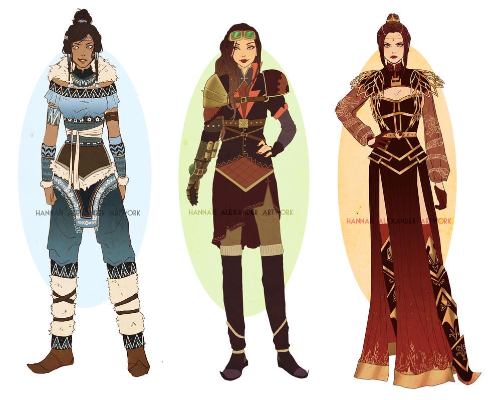 QuickDesigns: Korra, Asami and Azula by Hannah-Alexander