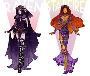 Art Nouveau Cosplay Designs: Starfire and Raven