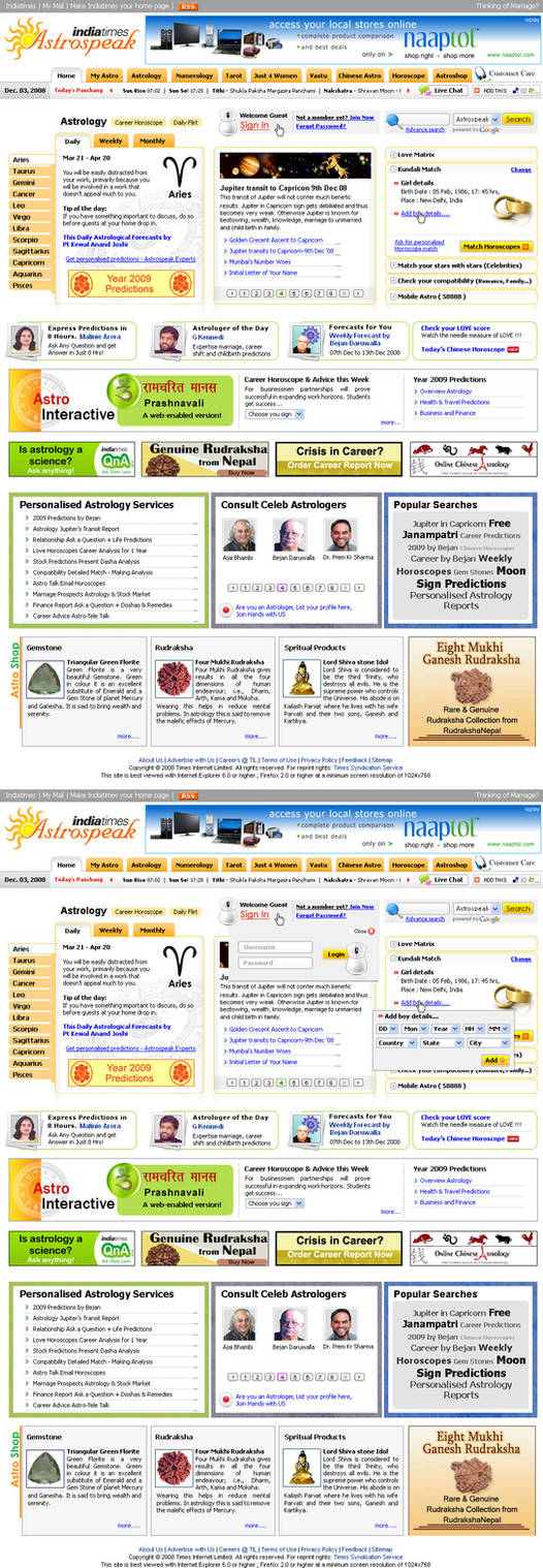 Astrology website layout by vinkrins