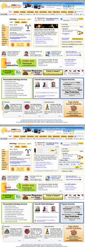 Astrology website layout