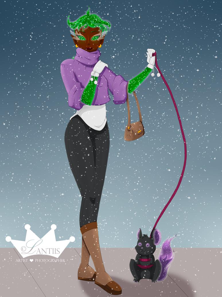 Brisha And Nix on a Winter Walk by iLantiis