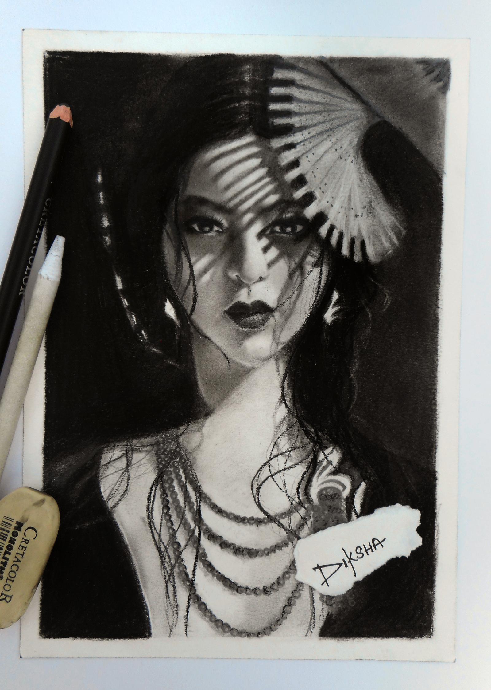 Charcoal Portrait by Diksharpner
