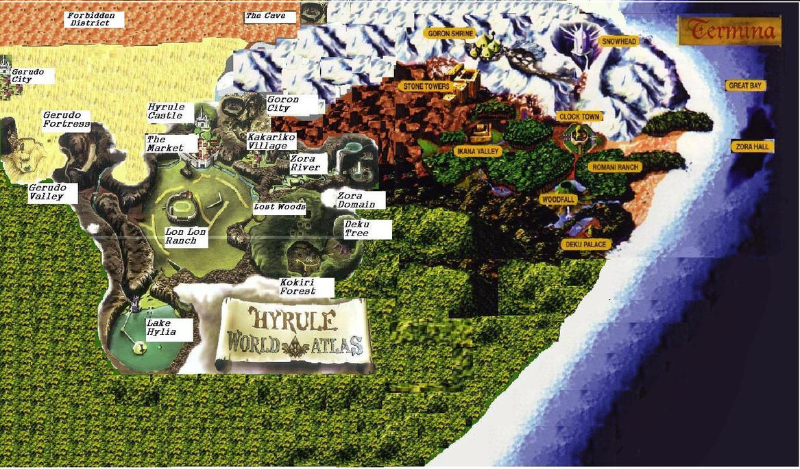 map of hyrule termina by treepaper on deviantart