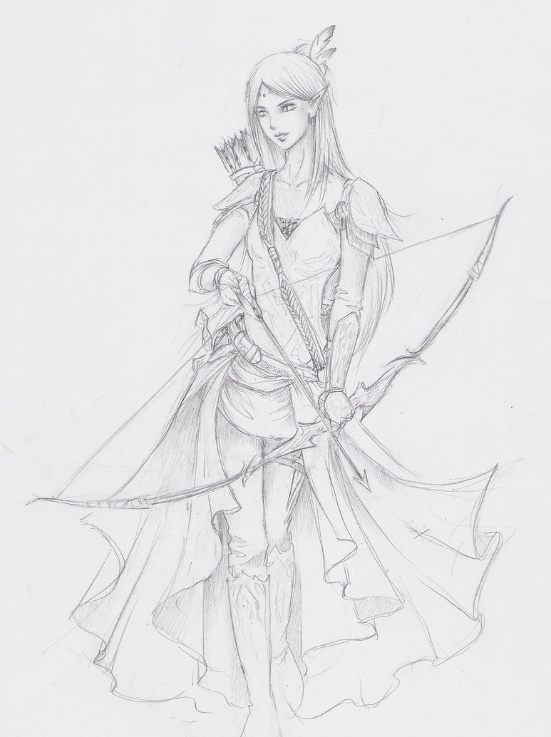 Line Drawings From D Models : Elven archer sketch by jujufei on deviantart