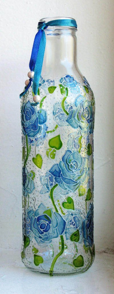 Blue Roses Bottle by bellekaX