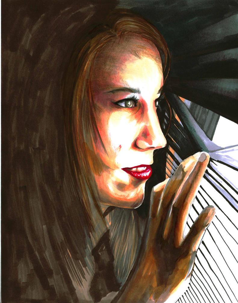 Amanda - window peek by Antervantei