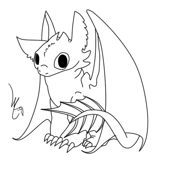 toothless coloring page - baby toothless lineart by lyricabelachium on deviantart