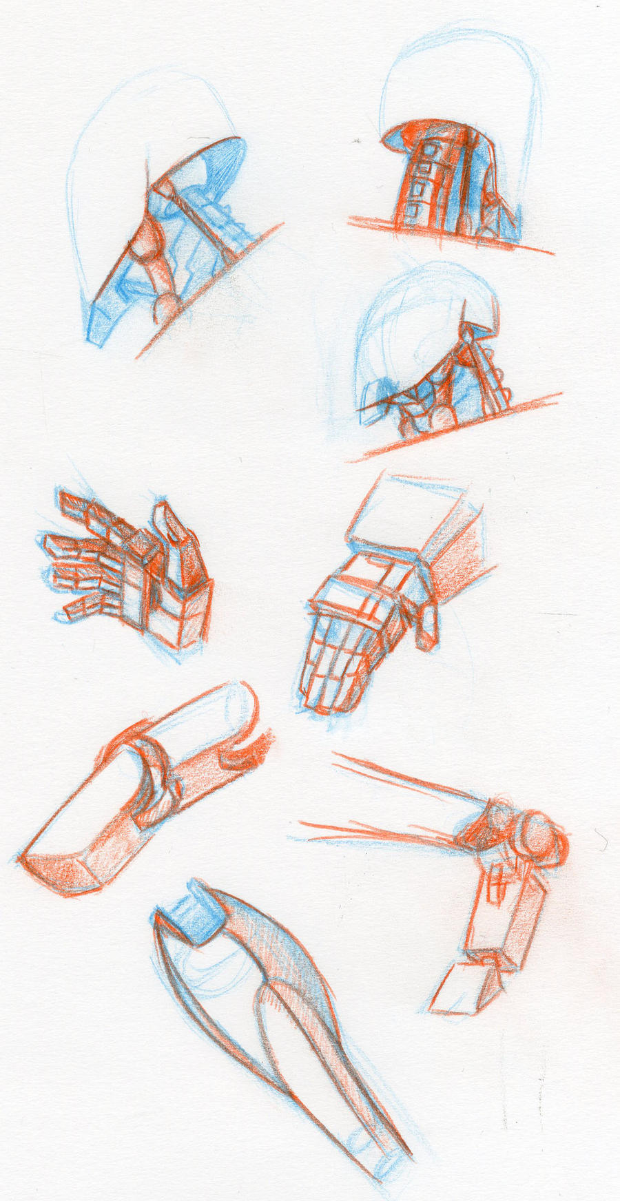 mecha anatomy sketches by LyricaBelachium