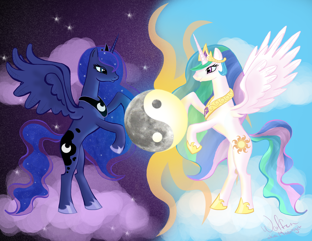 MLP: Luna and Celestia by WolfenM