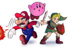 Mario, Kirby and Young Link