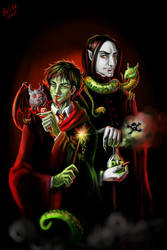 Snakemen and vampire with familiars by Skarlessa