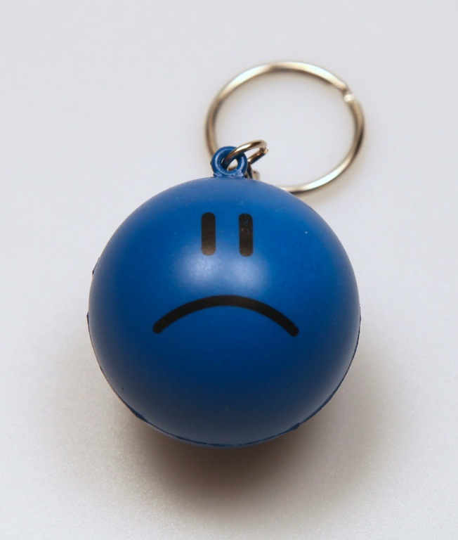 Sad Face Stress Ball Keychain by DeviantArtGear