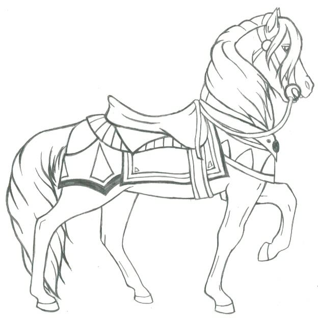 Carousel horse un named by inkpawz on deviantart for Carousel horse coloring page