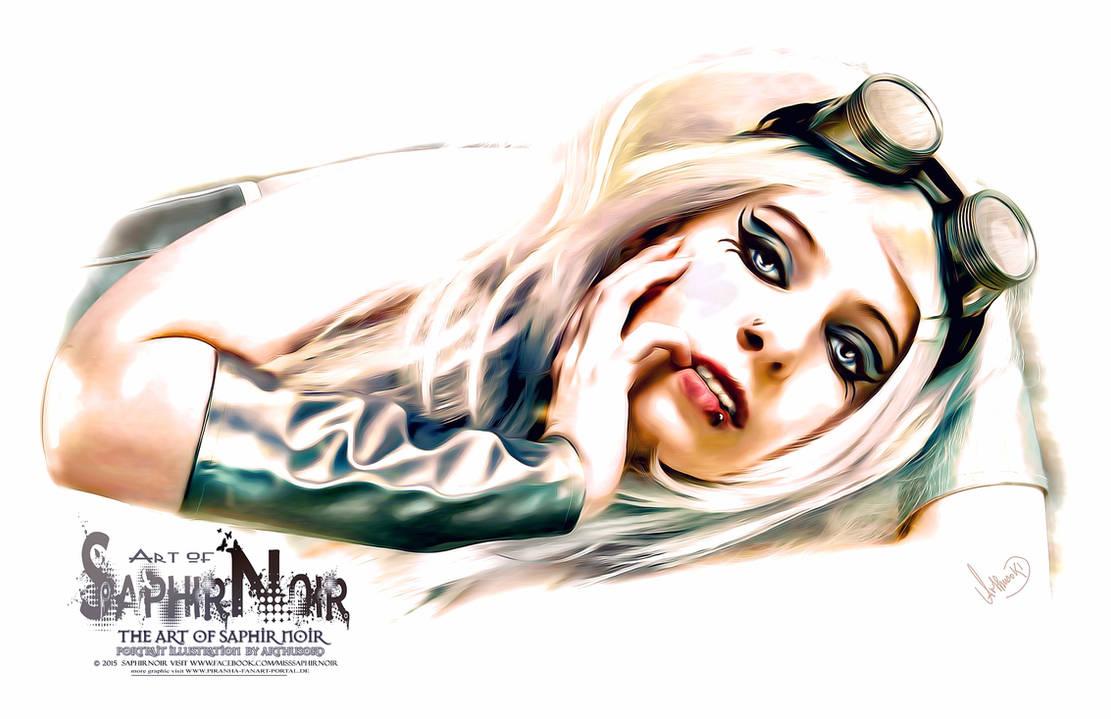 SaphirNoir Paint Steampunk PortraitArt Quer