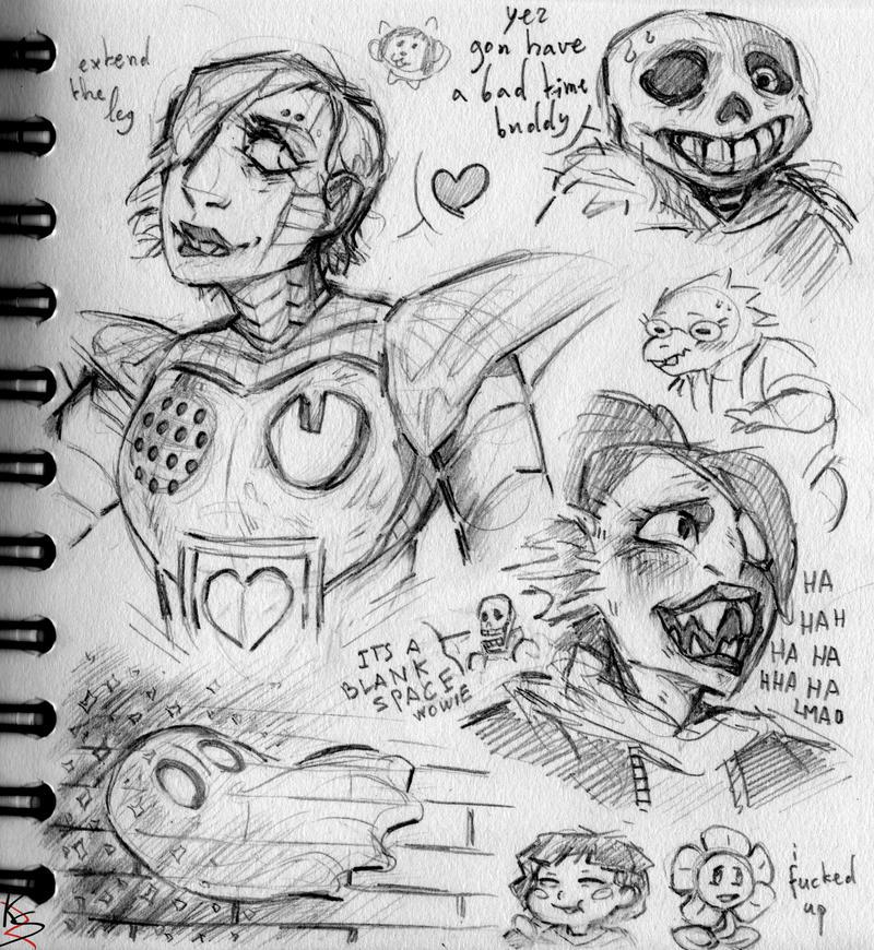Undertale pencil sketches! by StrangeRaven