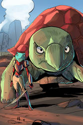 Kaysia and her guard turtle  Sonia