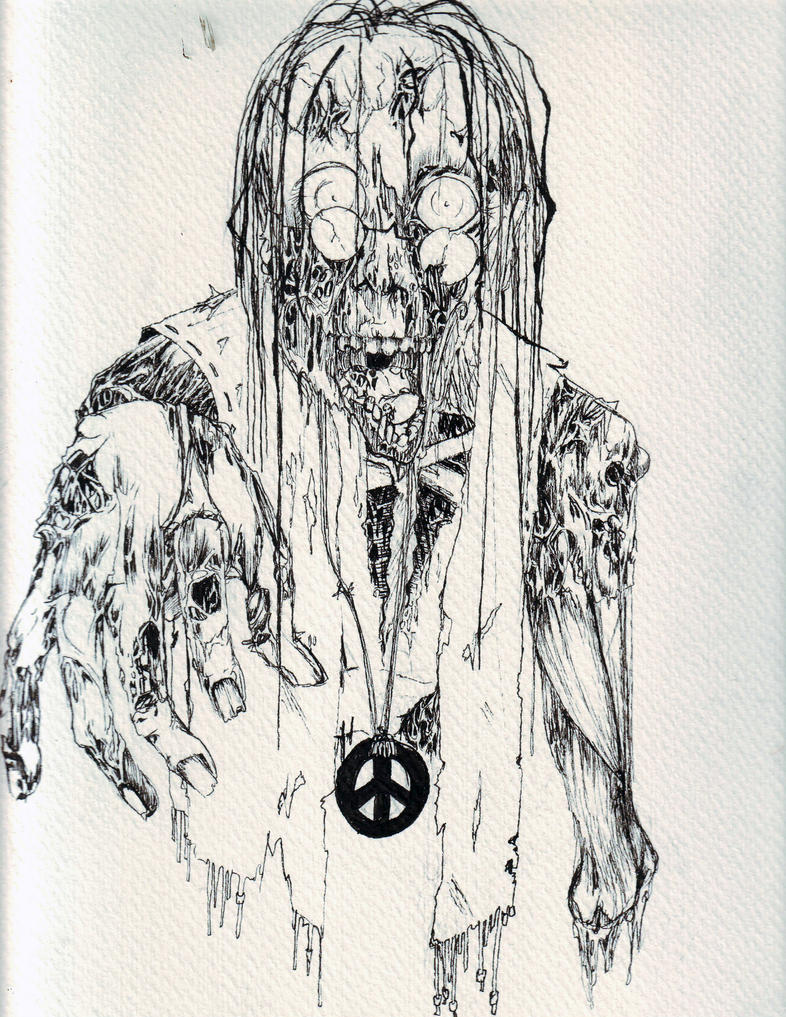 Line Drawing Of A Zombie : Hippie zombie line art by harlequin ink on deviantart