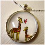 Mommy And Baby Giraffe Pendant