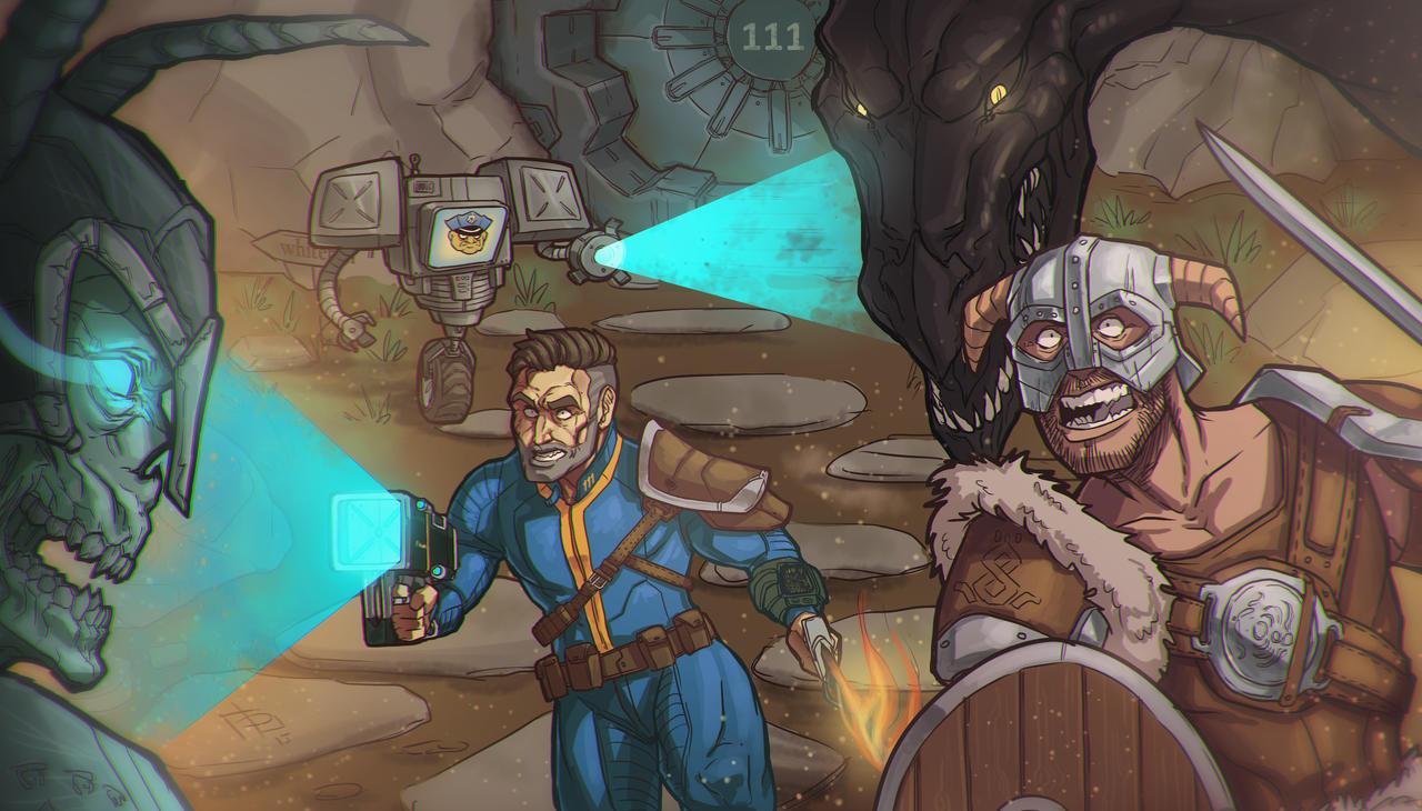 Skyrim - Fallout 4 crossover by Devolist