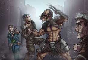 Predator vs Fallout 4 Raiders by Devolist