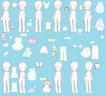 Dolls and outfits base