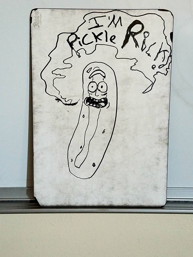 pickle rick on teacher's white board by BAKAFOOLS