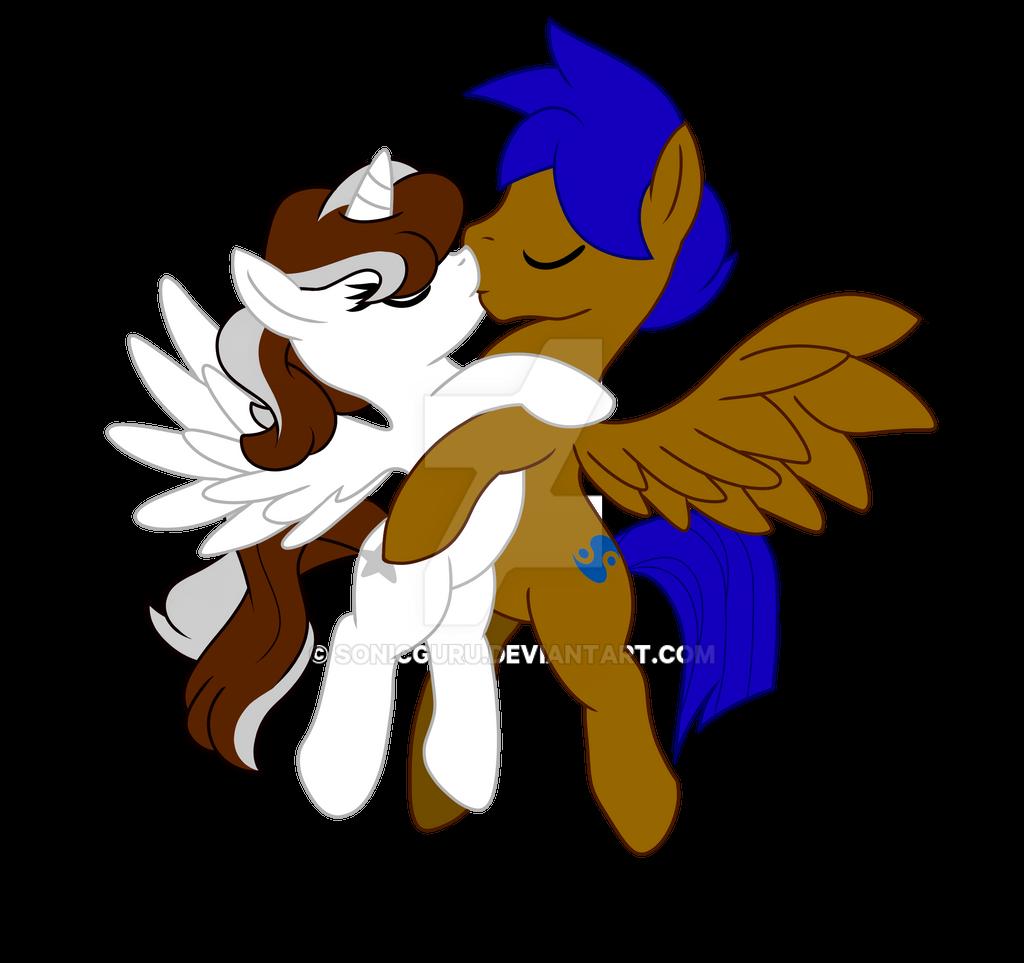 mlp fim silver star and guru flying kiss by sonicguru on deviantart