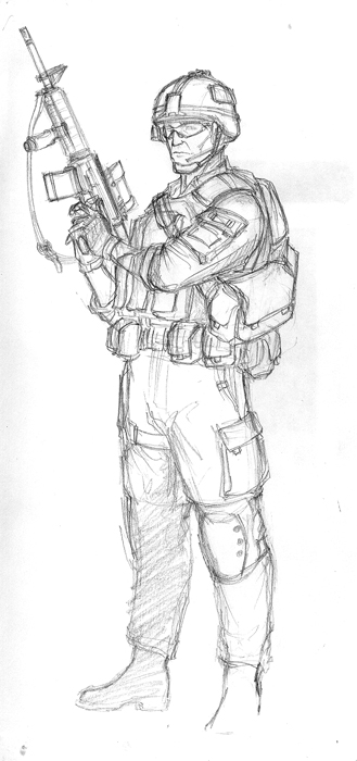 how to draw a army soldier with a gun