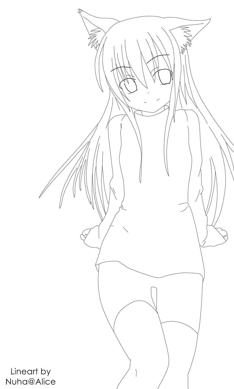 Anime Girl Lineart : Neko girl lineart by inogurl chan on deviantart