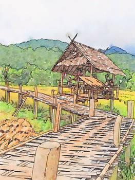 Travelogue - Bamboo walkway - Pai Thailand