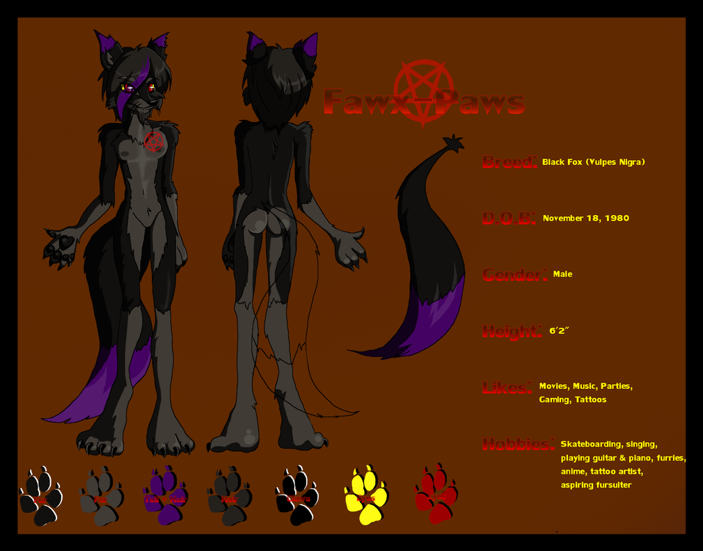 Commission - Fawx Paws Reference Sheet by sinister-puppet