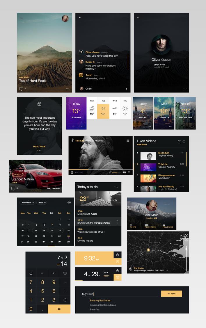 BlacknYellow UI KIT by alexdesigns