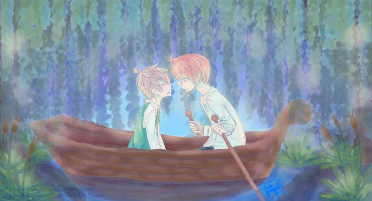 usuk :: kiss the girl // art trade [+ speedpaint] by CaptainJellyroll