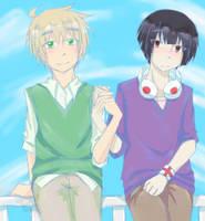 asakiku :: this is awkward // art trade by CaptainJellyroll