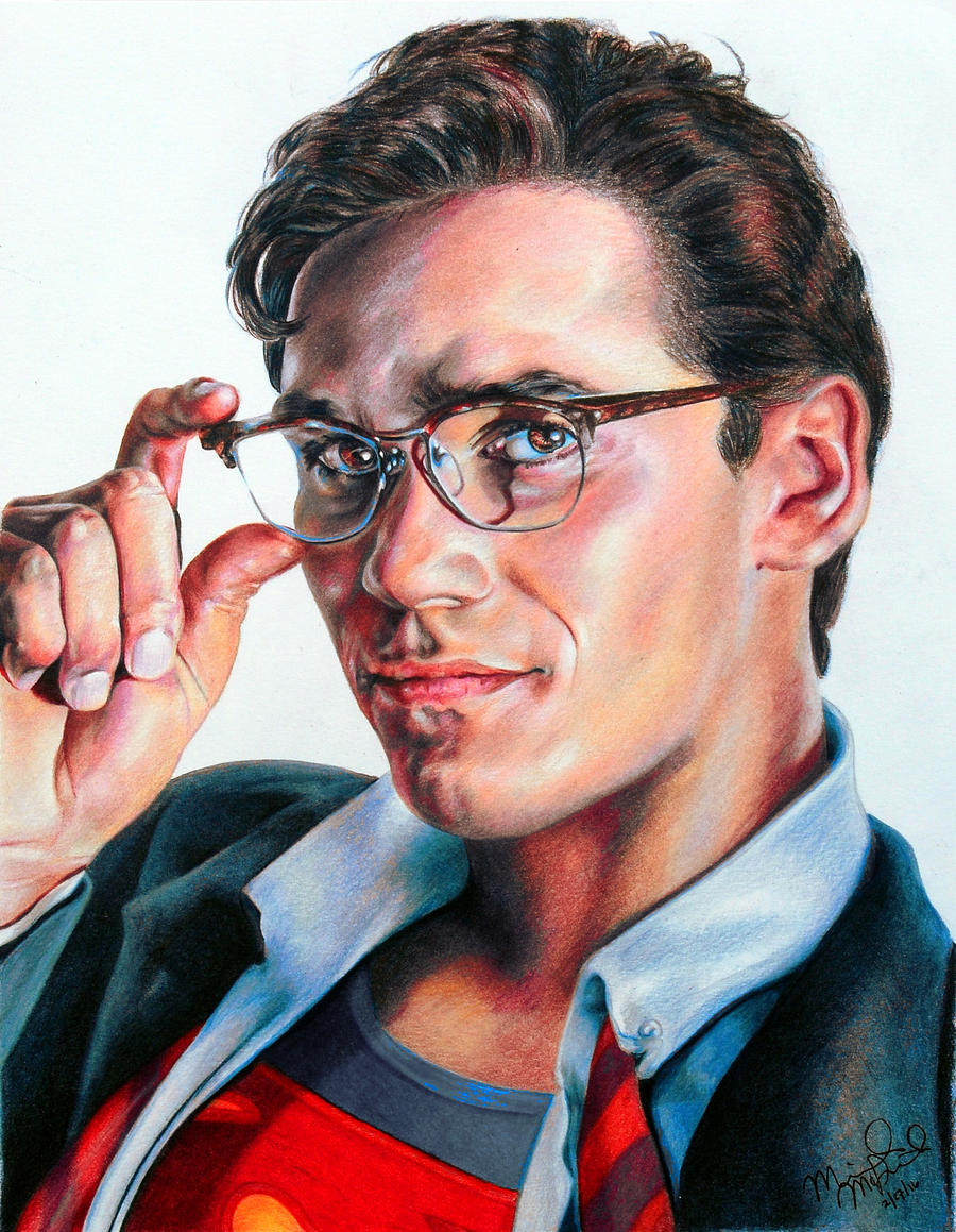 It is a graphic of Vibrant Clark Kent Drawing