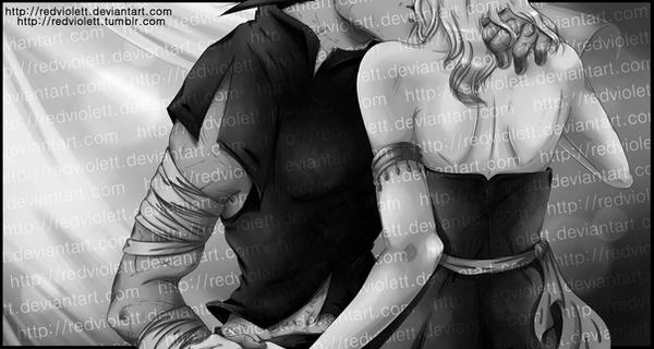DBZ - Bulma/Vegeta - A gentle Kiss by RedViolett