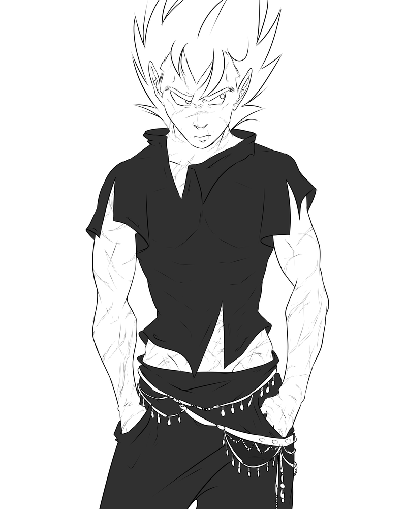 DBZ - Luck is in Soul at Home - Scars - Lineart by RedViolett