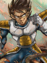 DBZ - Character Illustration -Young Vegeta by RedViolett