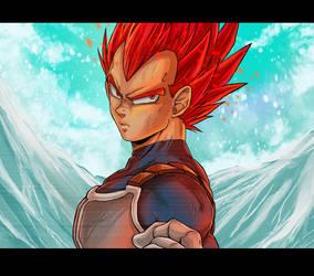 DBS Broly Movie: Super Saiyan God Vegeta by RedViolett