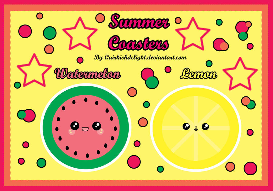 Summer Fruit Coasters by QuirkishDelight