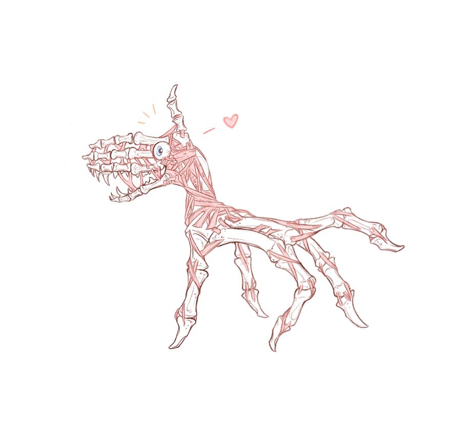Hand Bone Horse Spooky Horror Boy Wowee by Naimly