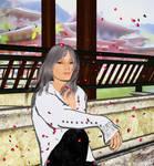 Bisonen with Cherry Blossoms