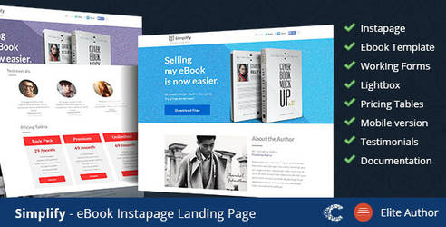 Themeforest Simplify Book Landing Page by coralixthemes