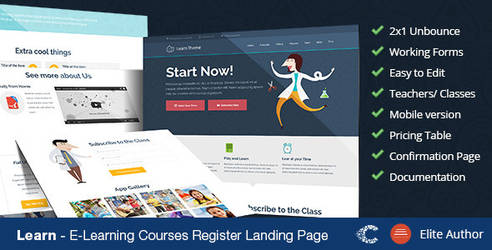 Themeforest Learn Unbounce Landing Page by coralixthemes