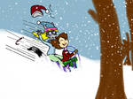 Sledding in the Woods by WonderWill7134