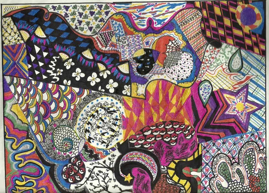 colorful zentangle by dinoboltzlovee on deviantart