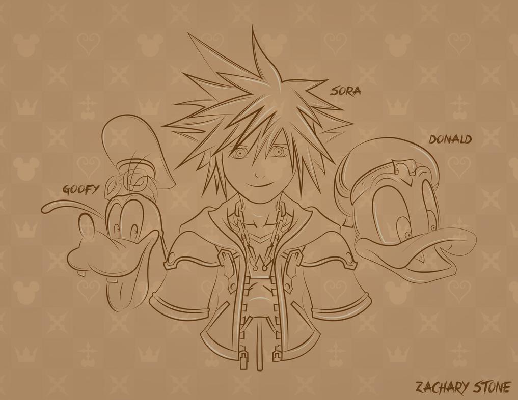 Kingdom Hearts Sora Donald and Goofy HD Wallpaper by Biggaplaya