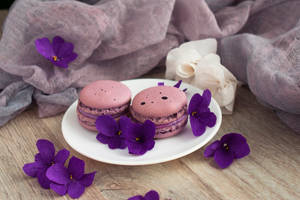 Macarons with violet flowers