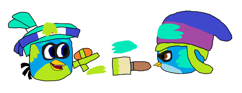 Milo and Willow in Splatoon x Angry Birds by SprixieFan12345